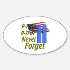 9-11 / Flag / Never Forget Sticker (Oval)