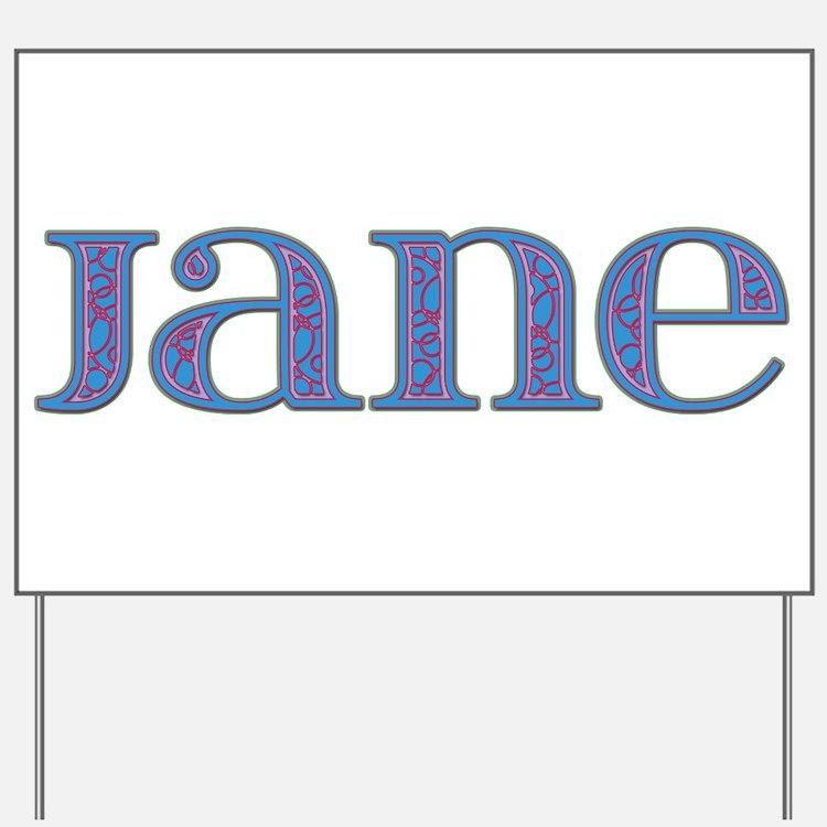 Jane Blue Glass Yard Sign