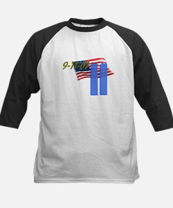 9-11 with Flag, Buildings Kids Baseball Jersey