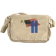 9-11 with Flag, Buildings Messenger Bag