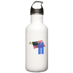 9-11 with Flag, Buildings Water Bottle