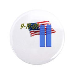 "9-11 with Flag, Buildings 3.5"" Button (100 pack)"