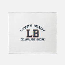 Lewes Beach DE - Varsity Design. Throw Blanket