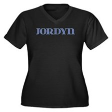 Jordyn Blue Glass Women's Plus Size V-Neck Dark T-