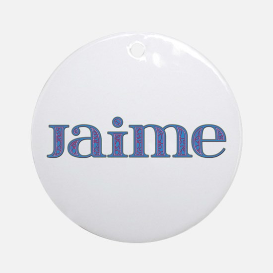 Jaime Blue Glass Round Ornament