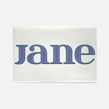 Jane Blue Glass Rectangle Magnet