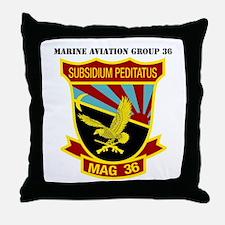 SSI -USMC-MAG 36 WITH TEXT Throw Pillow