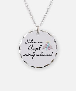 Angel Waiting Necklace Circle Charm