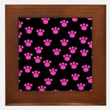 Pink Paw Prints on Black Framed Tile