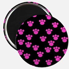 Pink Paw Prints on Black Magnet