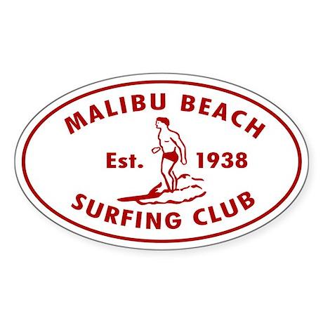 Malibu Beach Surfing Club Sticker (Oval)