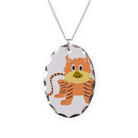Tiger Necklace Oval Charm