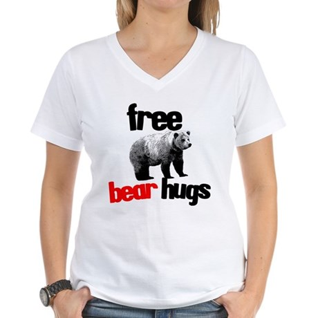 FREE BEAR HUGS Women's V-Neck T-Shirt