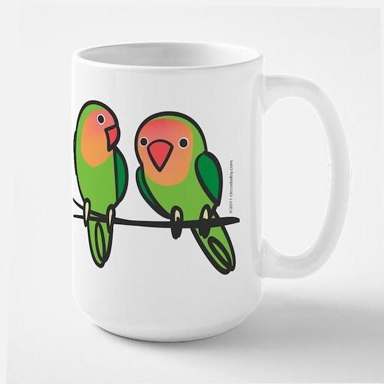Peach-Faced Lovebirds Large Mug