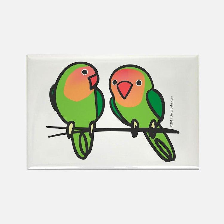 Peach-Faced Lovebirds Rectangle Magnet