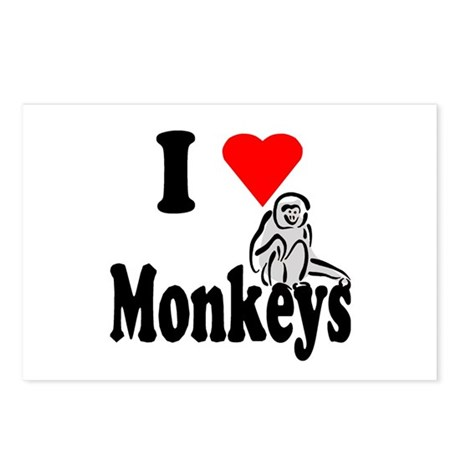 I Heart Monkeys Postcards (Package of 8)