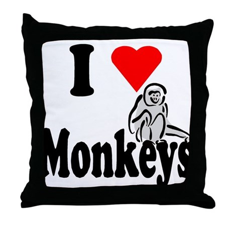 I Heart Monkeys Throw Pillow