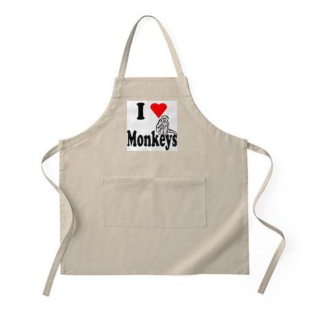 I Heart Monkeys BBQ Apron