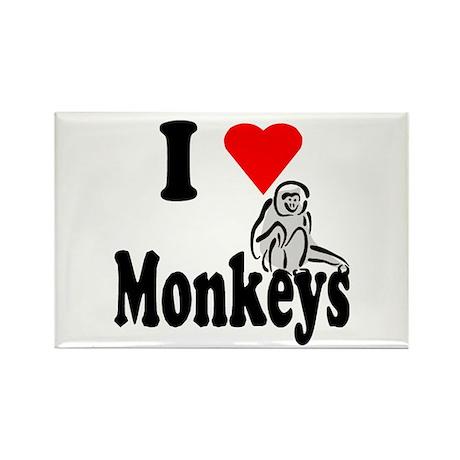 I Heart Monkeys Rectangle Magnet (10 pack)