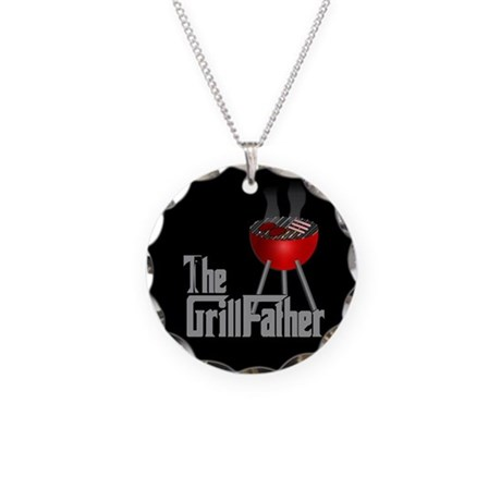 Grill Father Necklace Circle Charm