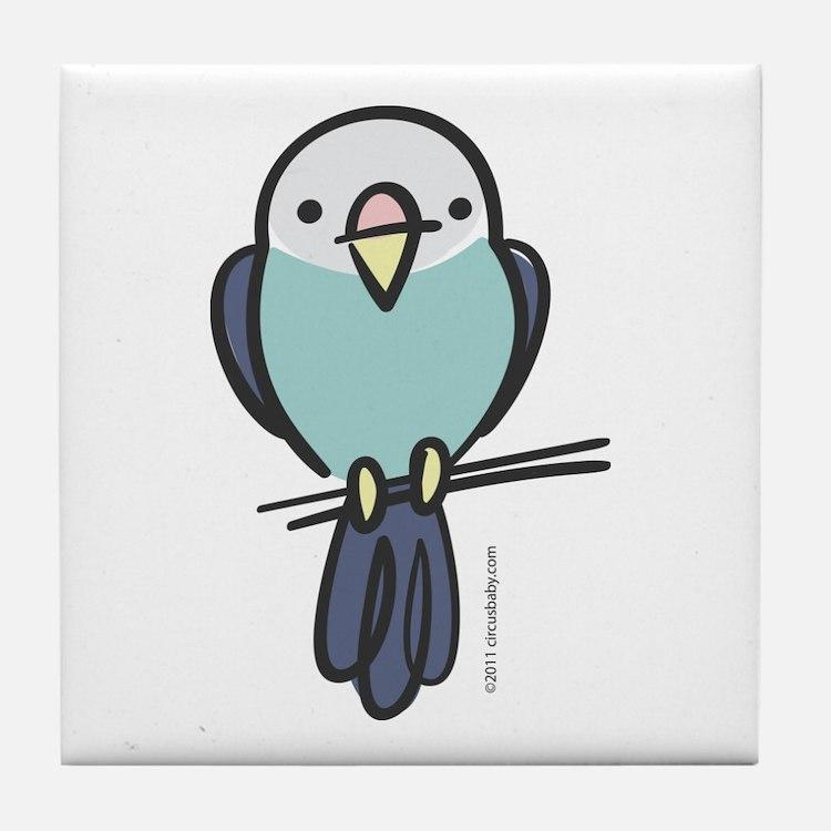 Blue Parakeet Tile Coaster