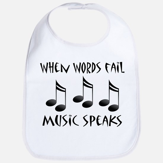 words fail music speaks ne notes Baby Bib