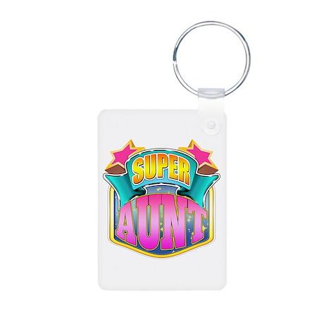 Pink Super Aunt Aluminum Photo Keychain