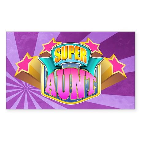 Pink Super Aunt Sticker (Rectangle)
