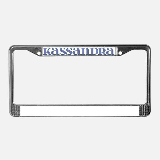 Kassandra Blue Glass License Plate Frame