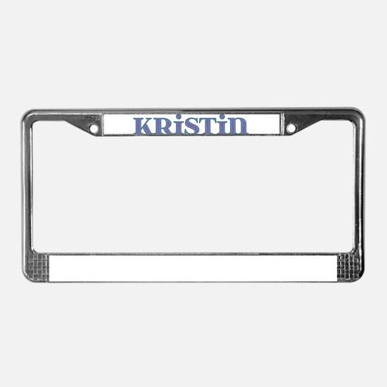 Kristin Blue Glass License Plate Frame
