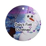 Snowzies Baby's 1st Christmas Ornament (Round)