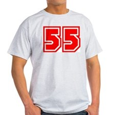 Varsity Uniform Number 55 (Red) Ash Grey T-Shirt