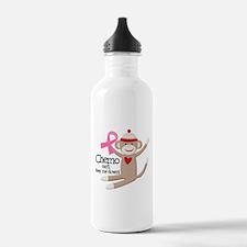Breast Cancer Chemo Sock Monkey Water Bottle