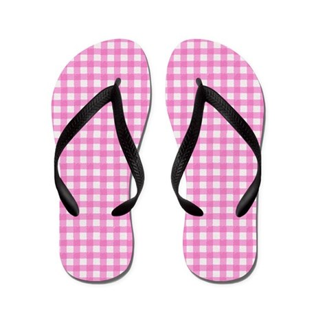 Pink Gingham Ribbon Flip Flops