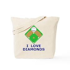 Baseball, I Love Diamonds Tote Bag