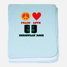 Peace Love Christian Rock baby blanket