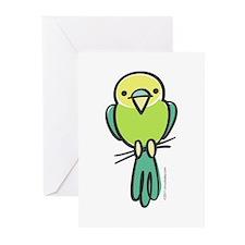 Yellow/Green Parakeet Greeting Cards (Pk of 10)