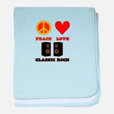 Peace Love Classic Rock baby blanket