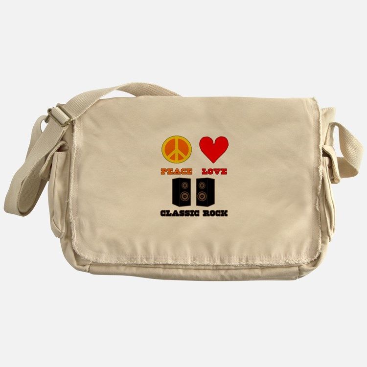 Peace Love Classic Rock Messenger Bag