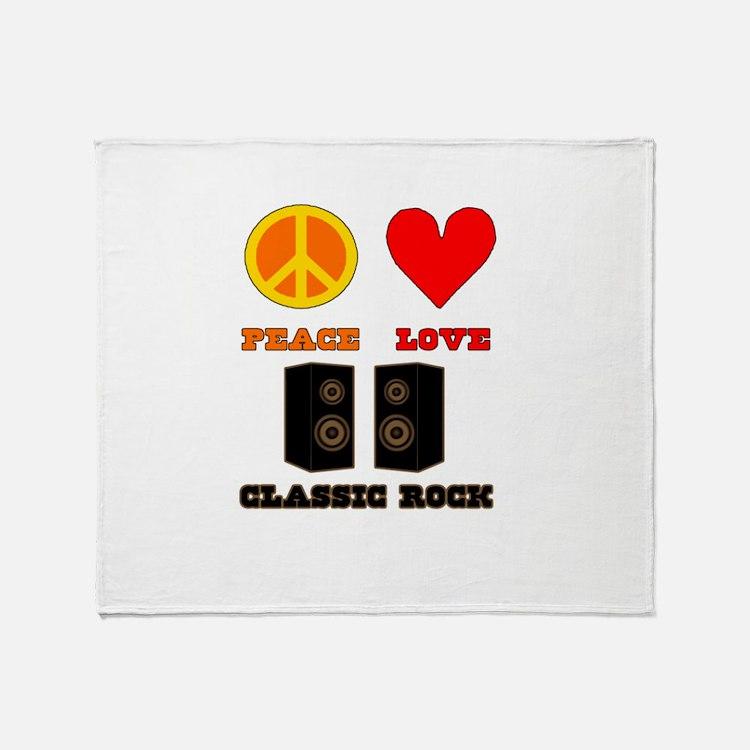 Peace Love Classic Rock Throw Blanket