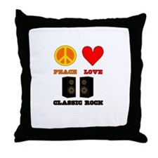 Peace Love Classic Rock Throw Pillow