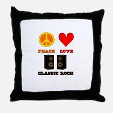 Peace Love Classic Rock Throw Pillow