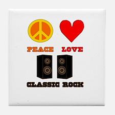 Peace Love Classic Rock Tile Coaster