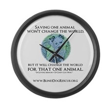 Cute Who rescued who Large Wall Clock