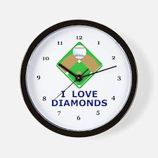 Baseball, I Love Diamonds Wall Clock