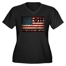 911 Grunge Flag Women's Plus Size V-Neck Dark T-Sh