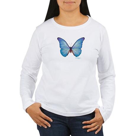 gorgeous blue morpho butterfly Women's Long Sleeve