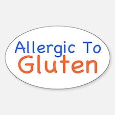 Allergic To Gluten Sticker (Oval)
