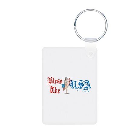 Bless the USA Aluminum Photo Keychain