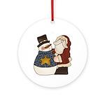 Santa and the Snowman Ornament (Round)